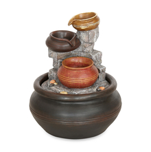 LED Pot Steps Water Fountain - @home by Nilkamal, Brown