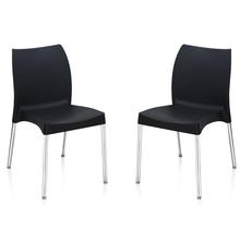 Nilkamal Novella 07 without Arm & Cushion Chair Set of 2, Black