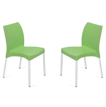 Nilkamal Novella 07 without Arm & Cushion Chair Set of 2, Green