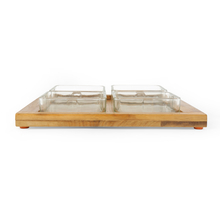 4 Snack Bowls with Bamboo Tray - @home by Nilkamal, Multicolor