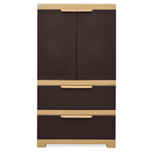 Nilkamal Freedom Cabinet with 2 Drawer Below - Weather Brown & Biscuit