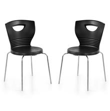 Nilkamal Novella 15 without Arm & Cushion Chair Set of 2, Black