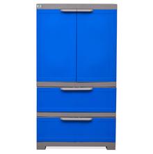 Nilkamal Freedom Cabinet with 2 Drawer Below - Deep Blue & Grey