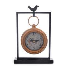 Metal Bird Table Clock - @home By Nilkamal, Black & Gold