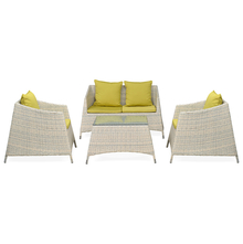 Villa 2+ 1+ 1 Sofa Set - @home By Nilkamal, White With Olive