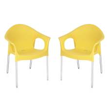 Nilkamal Novella 09 with Arm & without Cushion Chair Set of 2, Yellow