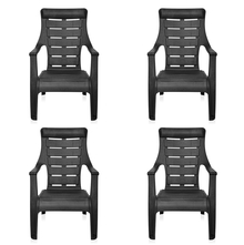 Nilkamal Sunday Garden Chair Set of 4, Black