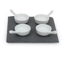 Serving Slate Set of 5 with Porcelain Bowls- @home by Nilkamal, Black & White