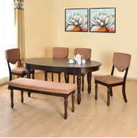 Isabella 1+ 4+ Bench Dining Set - @home by Nilkamal, Tobacco