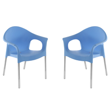 Nilkamal Novella 09 with Arm & without Cushion Chair Set of 2, Blue
