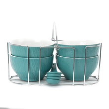 Stone Soup Bowls Set of 4 with Stand & Spoon - @home by Nilkamal, Sea Green