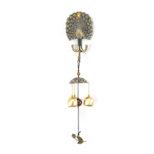 Wall Magnet Peacock Medium Windchime - @home by Nilkamal, Gold