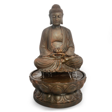 Buddha on Lotus Water Fountain - @home by Nilkamal, Brown