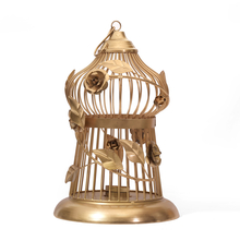 Wine Large Bird Cage Candle Holder - @home by Nilkamal, Gold