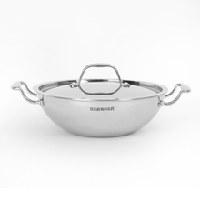 Bergner Triply Stainless Steel 24 cm Kadai with Lid, Silver