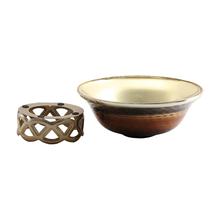 Stylish Glass Bowl With Metal Stand - @home Nilkamal,  brown