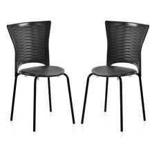 Nilkamal Novella 14 without Arm & Cushion Chair Set of 2, Black