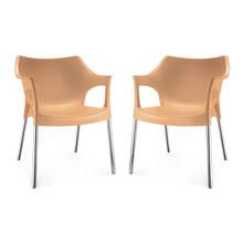 Nilkamal Novella 10 with Arm & without Cushion Chair Set of 2, Biscuit