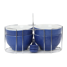 Stone Soup Bowls Set of 4 with Stand & Spoon - @home by Nilkamal, Indigo