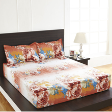 Arcade Floral Double Bed Sheet - @home By Nilkamal, Brown