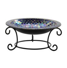 Stylish Glass Bowl With Metal Stand - @home Nilkamal, indigo