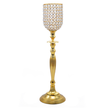 Crystal Drops Tall Candle Holder - @home by Nilkamal, Gold