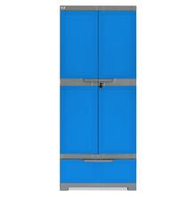 Nilkamal Freedom Cabinet with 1 Drawer Below - Deep Blue & Grey